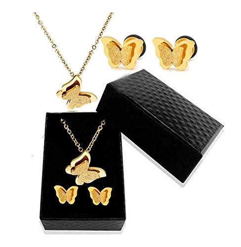 chenyou Joyería de Moda Arco de Rose Oro Oro Conjunto de Doble Capa de la Mariposa de Acero Inoxidable Esmerilado joyería Caja de Regalo Mujer niña para (Color : 60cm, Size : Gold Set)