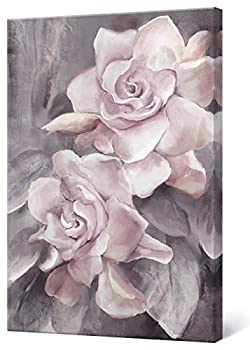 lamplig Pink Grey Wall Art Rose Flower Floral Pictures Flowers Canvas Painting Blush Gray Dusty Pink Roses Print Modern Artwork Framed for Living Room Bedroom Bathroom Home Room Wall Decor 16 x24
