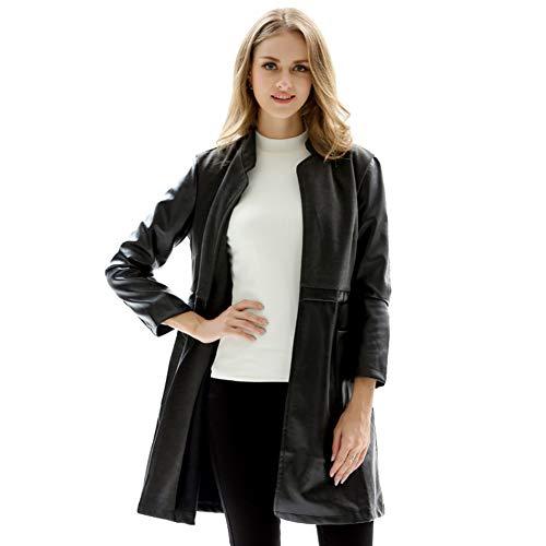 Comcrib Damen Kunstleder Jacke Übergangsjacke Classic Black Jacke Stehkragen Casual Langarm Biker Jacke Kurzmantel Outwear