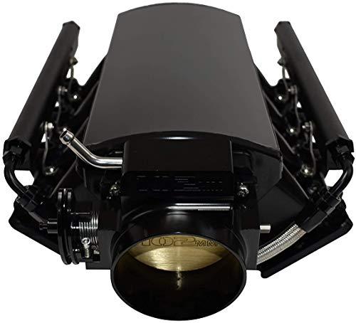 A-Team Performance Intake Manifold 102mm Throttle Body Sheet Metal Fabricated Compatible with Chevrolet GMC Pontiac LS LS1 LS2 LS6 EFI Black
