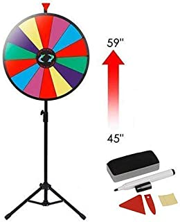 "Smartxchoices 24"" Spinning Prize Wheel with Height Adjustable Stand 14 Slots Color Prize Wheel Spinner Game with Dry Erase & Marker Pen, Trade Show Carnival Fortune"