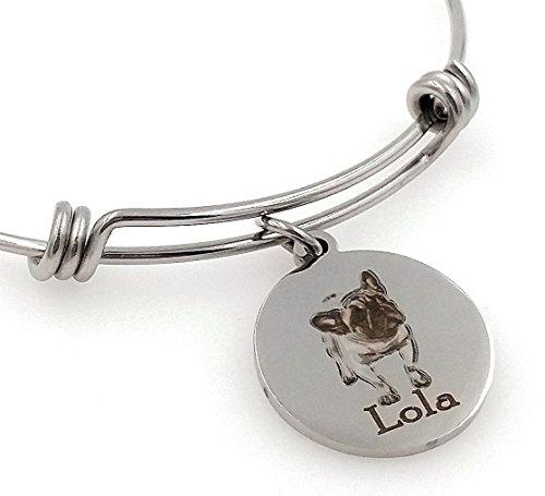 Frenchie, French Bulldog Bangle Bracelet-Personalized, Engraved, Expandable