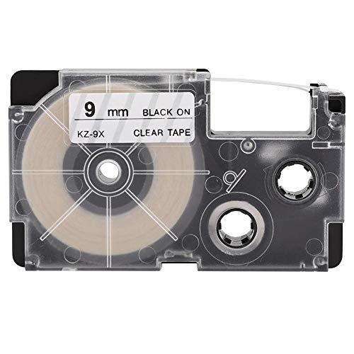 Cinta Para Rotuladores, Reemplazo De Cinta De Etiquetas De Pequeño Volumen Para Impresora De Etiquetas Casio KL 60/120/170/780/820 CW-L300(9 mm negro sobre fondo transparente)