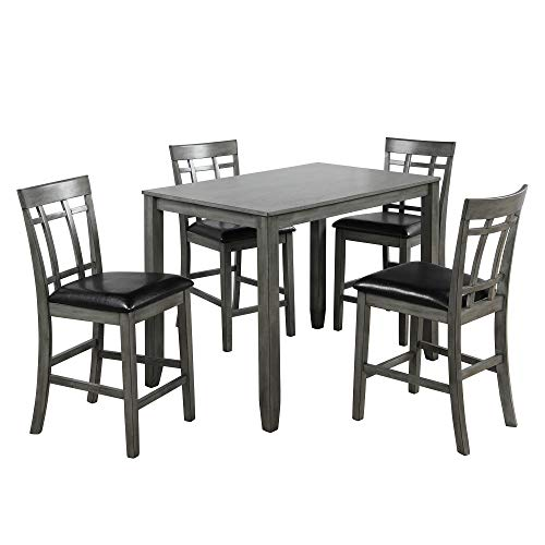 Harper & Bright Designs 5 Piece Counter Height Bar Table with 4 Chairs, Pub Table Set for Dining Room, Kitchen Room, Pub and Bistro
