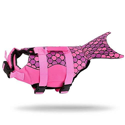 Schwimmweste für Hunde mit verstellbaren Trägern und Rettungsgriff Rettungsweste Sicherheitsbadeanzug für Haustiere Schutzanzug für Hunde Sicherheitsbekleidung für große, mittelgroße, kleine Hunde