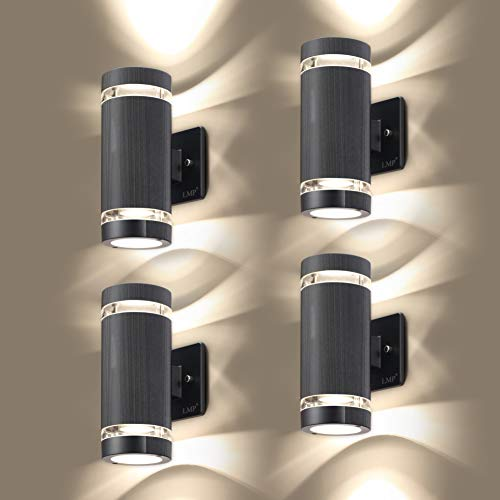 LMP 4 Pack LED Porches Up and Down Lights Outdoor Wall Light,Body in Aluminum Waterproof Outdoor Wall Lamps,3000k 5W with Certificate ETL