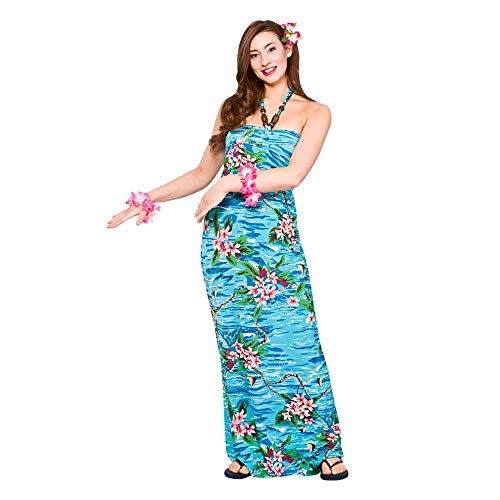Ladies Maxi Orchid Ocean Dress Hawaiian Luau Fancy Dress Party Costume Outfit