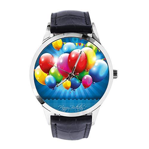 Realistische Luftballons und Party-Flaggen Custom Armbanduhr Unisex Analog Quarzuhr mit Lederband Uhren für Mädchen Jungen Armbanduhr