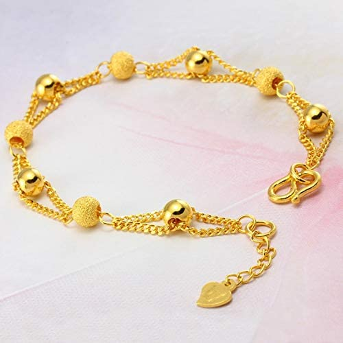Pure Gold Color Max 88% OFF Bracelets Inexpensive Bangle for Be Women Ball Plating 24k