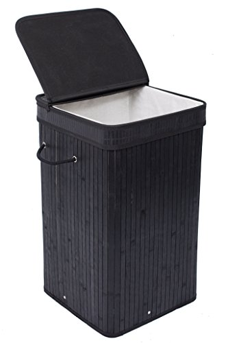 BIRDROCK HOME Square Laundry Hamper with Lid and Cloth Liner - Bamboo - Black - Easily Transport Laundry Basket - Collapsible Hamper - String Handles