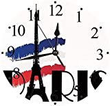 tuobaysj Reloj de Pared Silent Doodle Paris con la Figura de la Torre Eiffel Imagen de Tono Blac Reloj de Pared