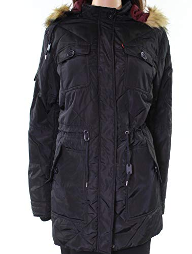 Levi's Women's Four Pocket Diamond Quilted Parka with Hood, Black, X-Small