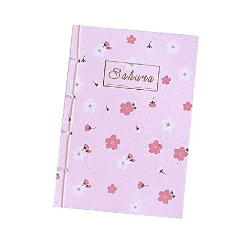 Notebook Cherry Blossom Cuaderno Diario portátil Personalidad Creativa Retro Bloc de Notas en Blanco Regalo con Borla Bookmark (65 Hojas) Diario (Color : B)