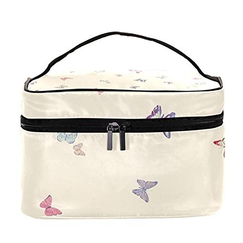 Bolsa de maquillaje de viaje con patrón de mariposas de colores, bolsa de maquillaje, organizador con cremallera, para mujeres y niñas
