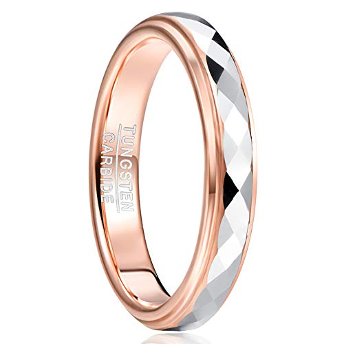 TUNGSTORY Womens Rose Gold Tungsten Engagement Ring Band 4mm Polished faceted Finish Size Q