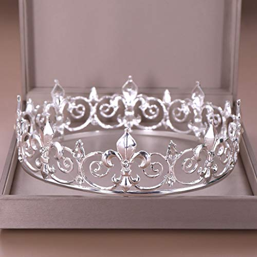SJYDQ Gold Round Crown King Queen Wedding Tiara Bride Headpiece Men Party Crystal Hair Jewelry Wedding Hair Accessories (Color : Silver)