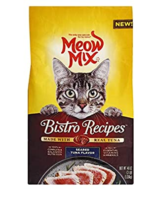 Meow Mix Bistro Recipes Dry Cat Food, Seared Tuna Flavor, 3 Pounds