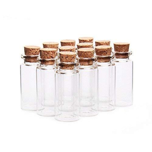 knowing 10pcs 22 mm x 50 mm Vacías Muestras Botella de Cristal,10ml Mini tarros de Cristal Botellas frascos con Tapones de Corcho,para Bodas, joyería, Regalos para Invitados (Transparente)