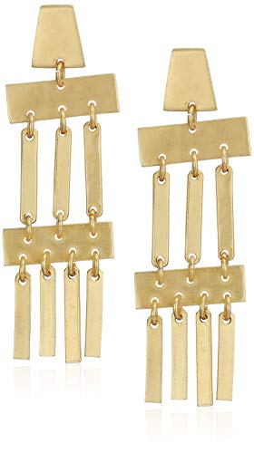 Panacea Women's Brass Art Deco Drop Earrings, GOLD, One Size