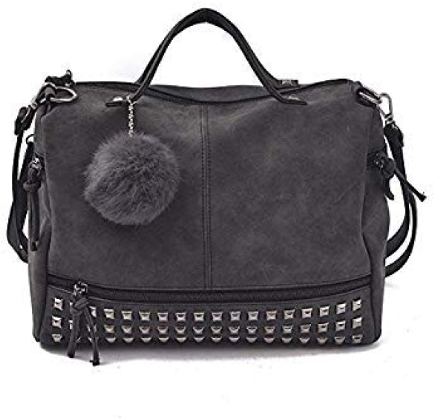 Bloomerang BENVICHED 2018 Luxury Suede Leather Handbags Women Bags Designer Vintage top-Handle Bags Punk Rivet Crossbody Shoulder Bag R529 color Black