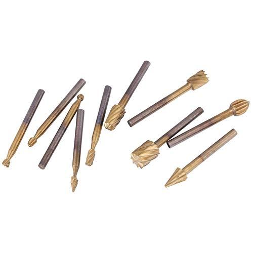 Doble corte de carburo sólido conjuntos de rebabas 10pcs / set Cutter HSS Titanium High Speed Burre Burrs Burrs Archivos Rotary Transporte de carpintería Juego de herramientas de tallado para grabad