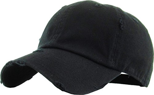KBETHOS Vintage Washed Distressed Cotton Dad Hat Baseball Cap Adjustable Polo Trucker Unisex Style Headwear (Vintage) Black Adjustable