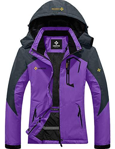 GEMYSE Women's Mountain Waterproof Ski Snow Jacket Winter Windproof Rain Jacket (Purple, Medium)