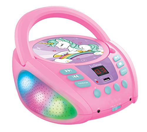 LEXIBOOK RCD109UNI Unicorn-Bluetooth CD Player for Kids – Portable,...