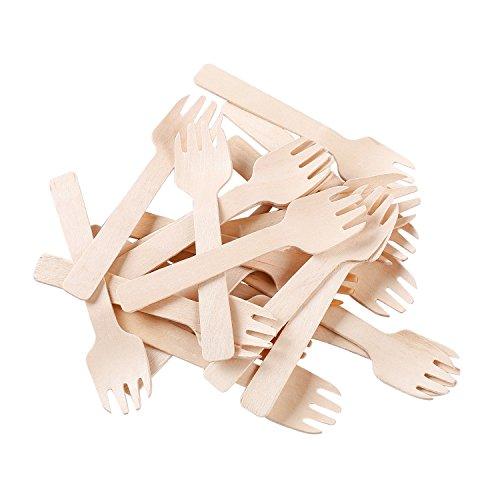 Gmark 4' Mini Wooden Spork 200 ct, Biodegradable Compostable Birchwood Fork Spoon 2-in-1 Utensil (200pcs/bag) GM1058