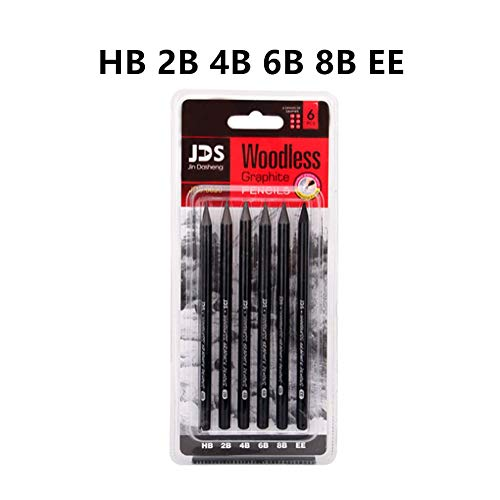 Woodless Charcoal Pencil For Drawing Professional Painting,6Piece, HB 2B 4B 8B EE, 14.5cm