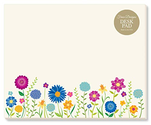 Meadow Wildflower Designer Desk/Mouse Pad Premium Quality 50 Tear Off Sheets, 7.25 x 9 inches to Do List Organization Scheduling Appointments Messages Notes by Faux Designs
