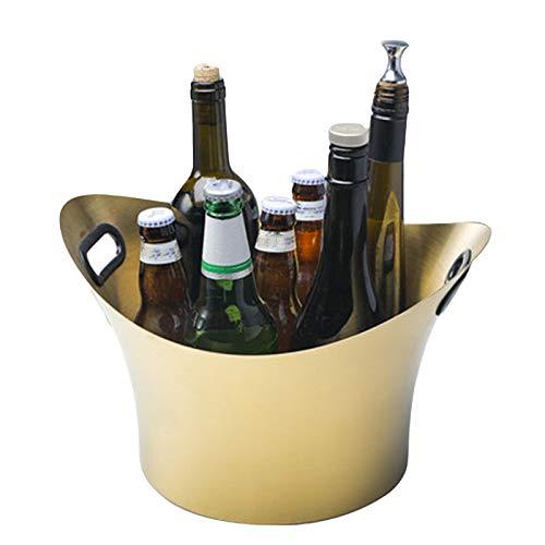 Lavabo De Vino De Hielo para Banquetes, Cubo De Hielo De Acero Inoxidable para Uso Doméstico, Enfriador De Vino Y Champán, Diseño Portátil,Gold Handle