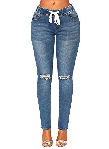 luvamia Women's Casual Elastic Waist Jegging Stretch Jeans Distressed Ripped Vintage Jeans Pants Denim Blue Size Large