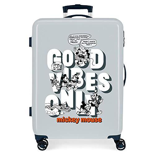 Disney Good Vives Only Maleta Mediana Azul 48x68x26 cms Rígida ABS Cierre de combinación Lateral 70L 2,66 kgs 4 Ruedas Dobles