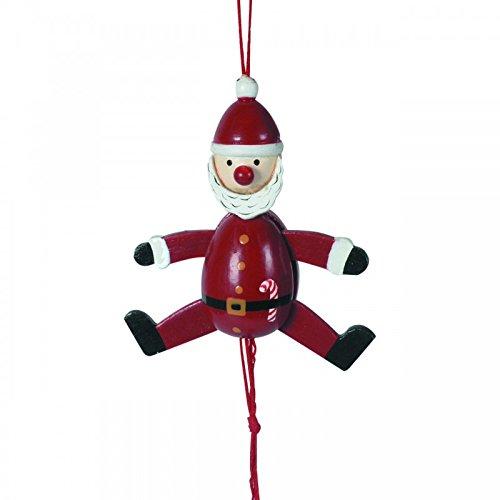 Weihnachtlicher Hampelmann Santa Claus, Holz, 3 Stück, Christbaumanhänger