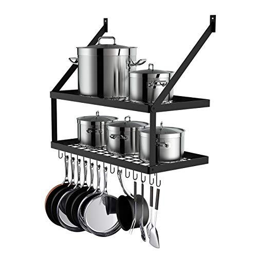 Miyili Wall Mounted Pot Rack with 2Tier 15 Hooks Kitchen Shelves Cookware Hanging Storage Organizer 295 by137inch Black KR300B2