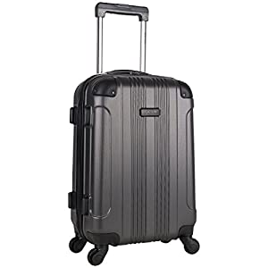Kenneth Cole Reaction Out Of Bounds Luggage Collection Lightweight Durable Hardside 4-Wheel Spinner Travel Suitcase Bags, Charcoal, 20-Inch Carry On