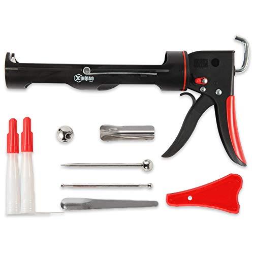 XINQIAO Caulking Gun, Ratchet Type Durable Smooth and Labor Saving Caulk Gun Kit for 10 oz Silicone Cartridges with 12 Pieces Caulking Tool Kit (Black)