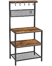 VASAGLE keukenplank, staande plank voor de keuken, plankniveaus in houtlook, 10 haken, metalen roosterplank, voor magnetron, serviesgoed, 84 x 40 x 170 cm, industrieel ontwerp, vintage bruin-zwart KKS17BX