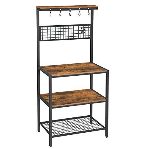 VASAGLE Küchenregal im Industrie-Design, Standregal für die Küche, Regalebenen in Holzoptik, 10 Haken, Gitterablage aus Metall, für Mikrowelle, Geschirr, 84 x 40 x 170 cm, Vintage, dunkelbraun KKS17BX