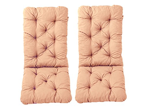 Ambientehome 120 x 50 x 8 cm HANKO MAXI Garden Chair Cotton Padded High Back Cushion - Apricot (2-Piece)