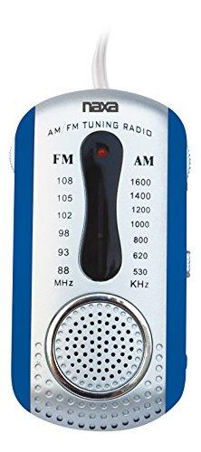 Naxa Electronics NR-721 Portable AM/FM Mini Pocket Radio with Built-in Speaker, Blue, 8.25 Inch x 5.25 Inch x 1.60 Inch (NR-721 BL)