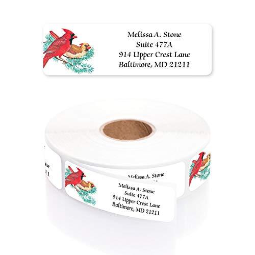 Cardinals on a Twig Designer Rolled Address Labels with Elegant Plastic Dispenser