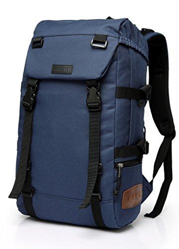 Mochila casual de acampamento para caminhadas da Vaschy para escola, serve para laptop de 15 polegadas preto, Laptop, Azul, Medium