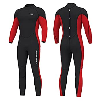 Hevto Wetsuits Men Guardian 3mm Neoprene Fullsuit Thermal Scuba Diving Suits Surfing Swimming Long Sleeve for Water Sports  G-Men Red XXL