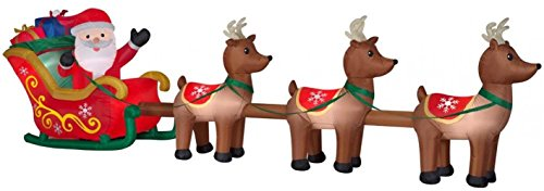 Gemmy Holiday Indoor/Outdoor Inflatable Santa in Sleigh with Reindeers 16ft. Long Airblown Decoration