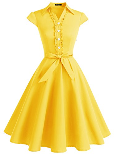 WedTrend Damen 50er Vintage Retro Rockabilly Swing Kleid Kurzer Ärmel Cocktailkleider WTP10007YellowL