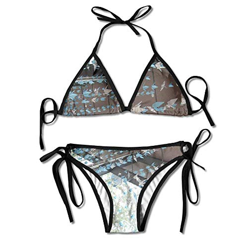 MSGDF Hanging Crane Origami Pattern Women's Sexy Bikini Set Swimsuit Bathing Suit Triangle Swimwear