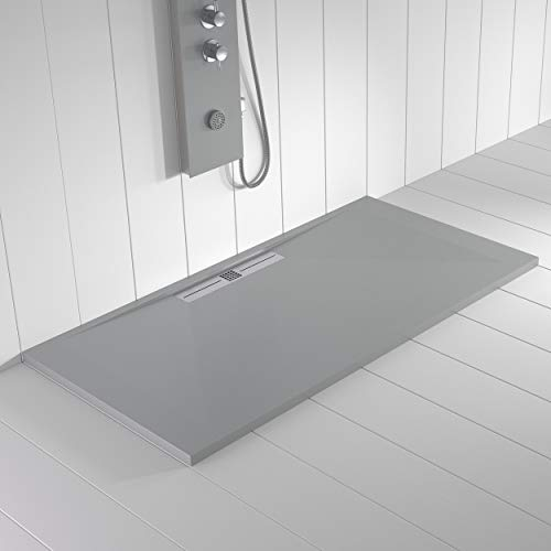 Shower Online Plato de ducha Resina WIDE -90x90 - Textura Pizarra - Antideslizante - Todas las medidas disponibles - Incluye Rejilla Inox y Sifón - Gris RAL 7035