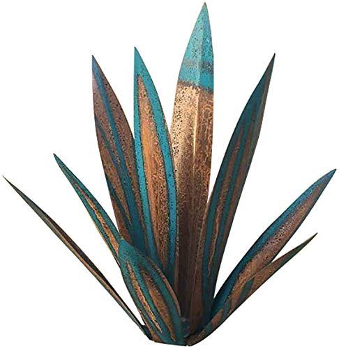Escultura rústica de tequila, rústica pintada a mano, metal Agave decoración de Pascua, plantas de agave de metal, para jardín y estatuas, adornos de césped para patio al aire libre(azul oscuro)